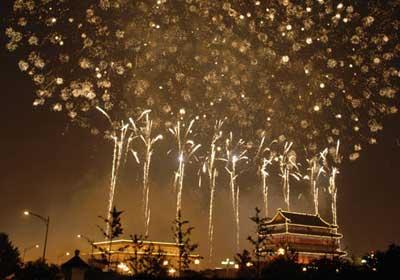Pertunjukan kembang api yang spektakuler