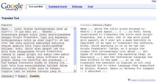 Contoh terjemahan dengan Google Translate