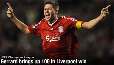 Gerrad mencetak Gol ke 100 nya untuk Liverpool!